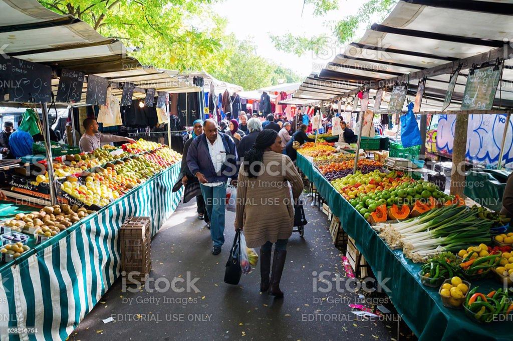 street market in Belleville, Paris, France stock photo
