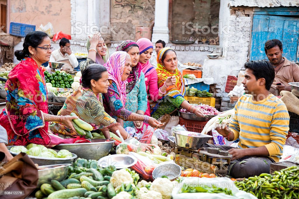 Street Market in Bikaner, India stock photo