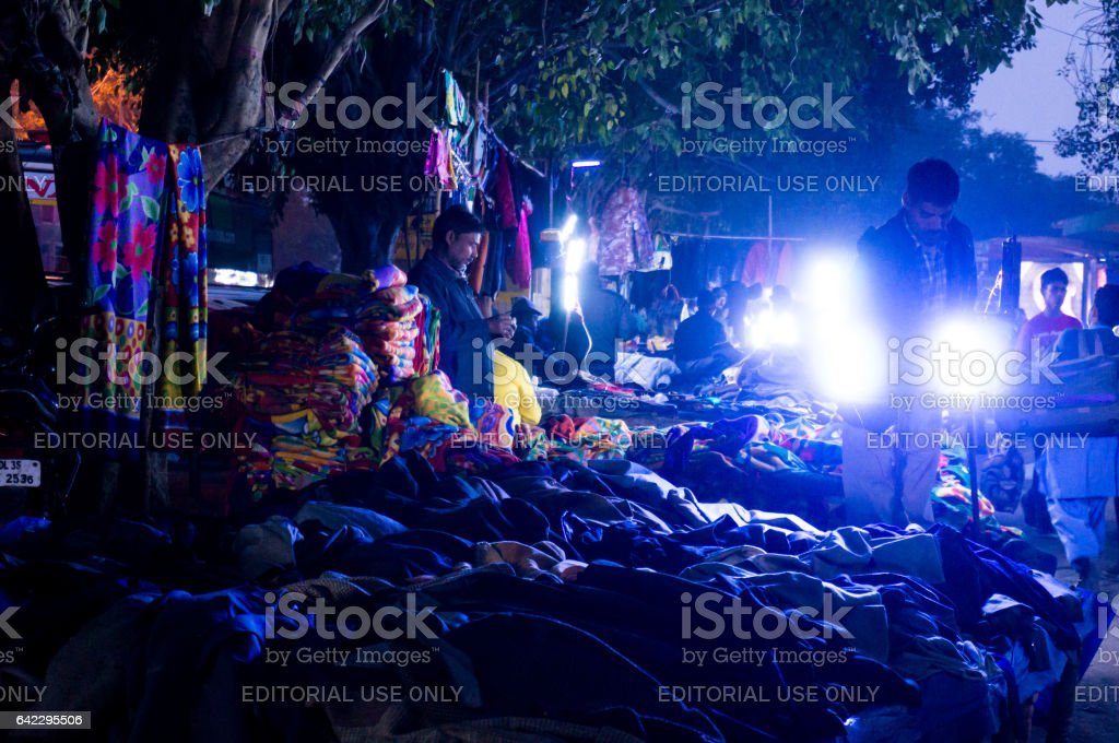 Street market in chandni chowk delhi stock photo