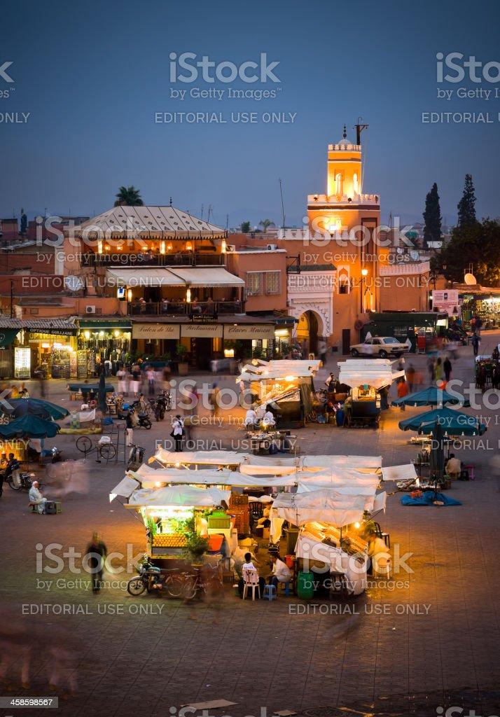 Street Market in Djemaa el Fna by Night, Marrakesh, Morocco royalty-free stock photo