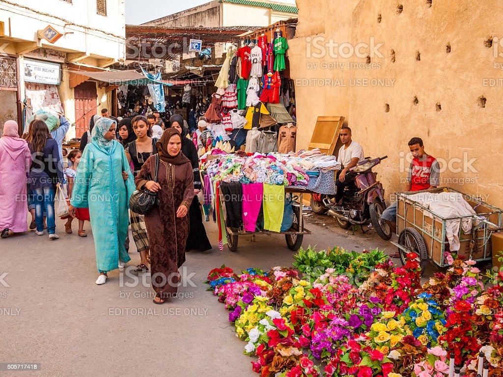 Street market in Fez, Morocco stock photo