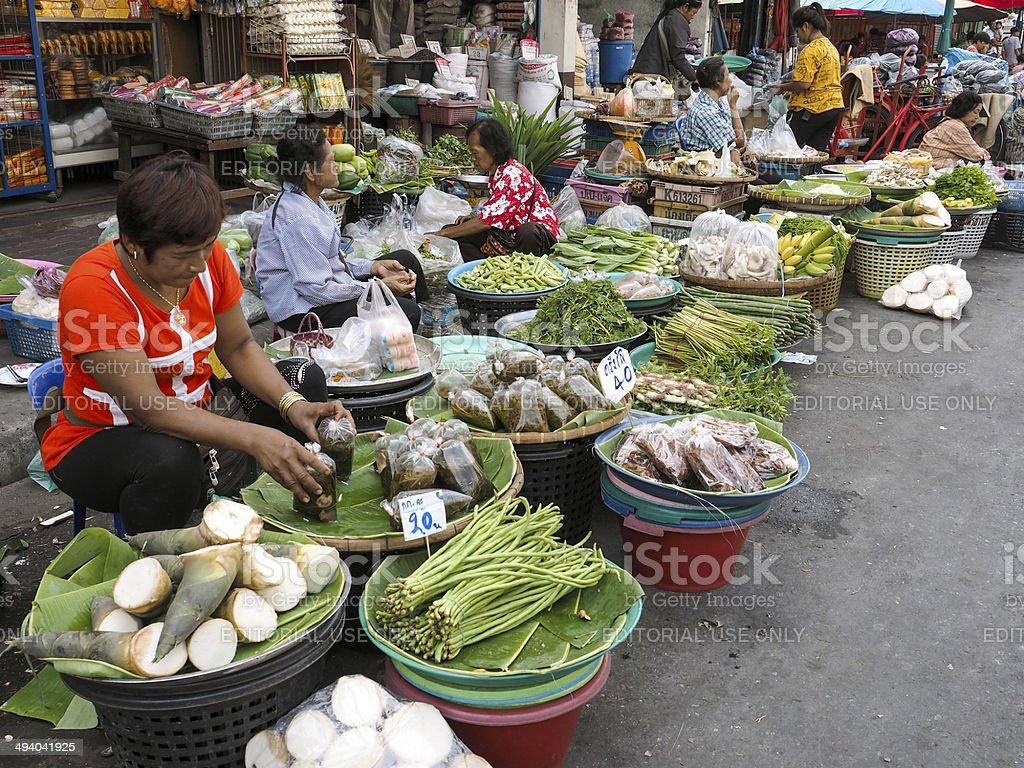 Street Market in Lopburi center, Thailand stock photo