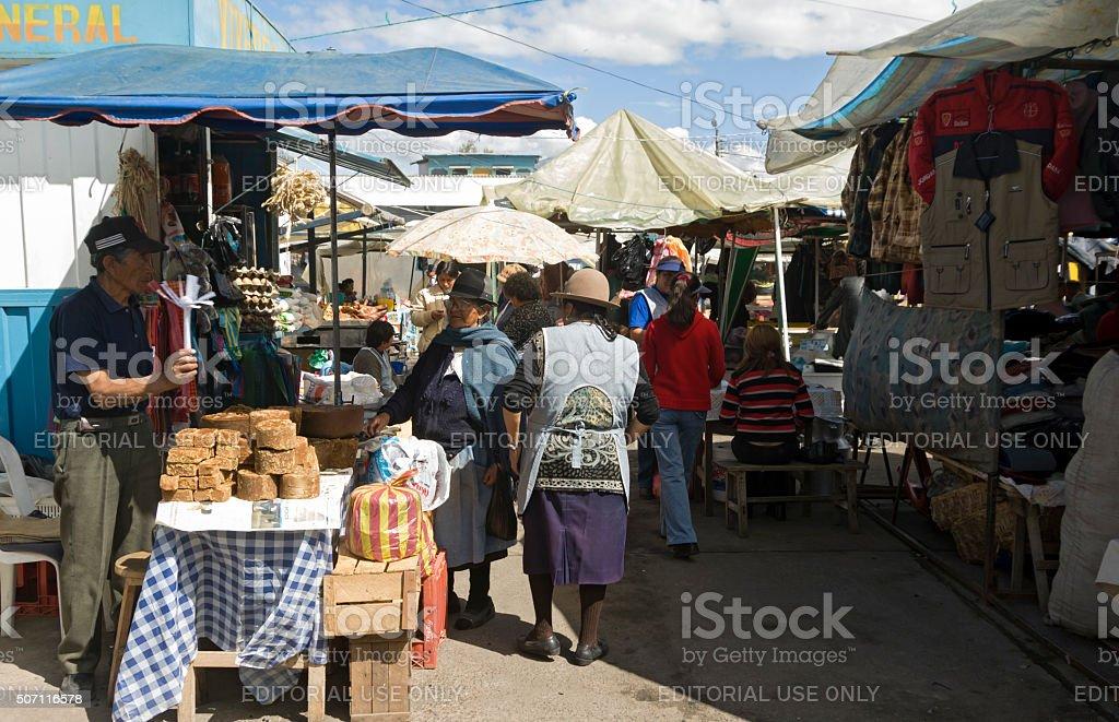 Street market in Machachi, Ecuador stock photo