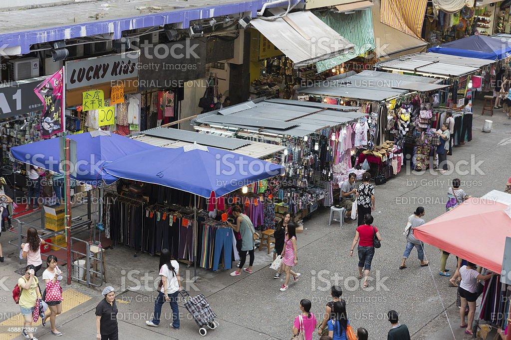 Street Market in Mong Kok, Hong Kong royalty-free stock photo