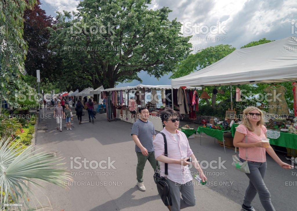 Street market in Montreux, Switzerland stock photo