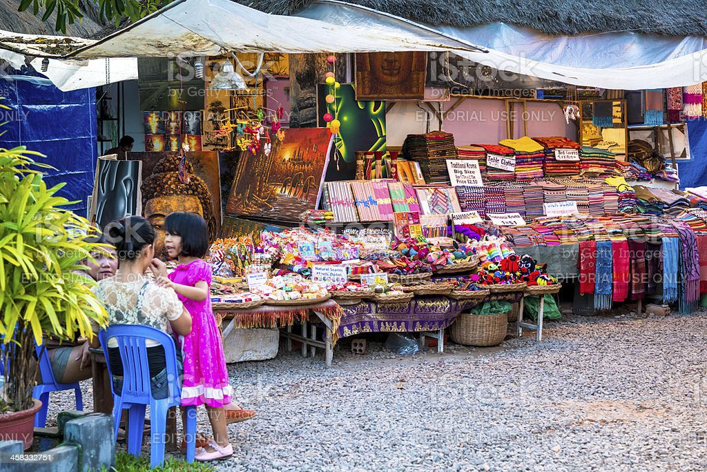 Street Market in Siem Reap, Cambodia royalty-free stock photo