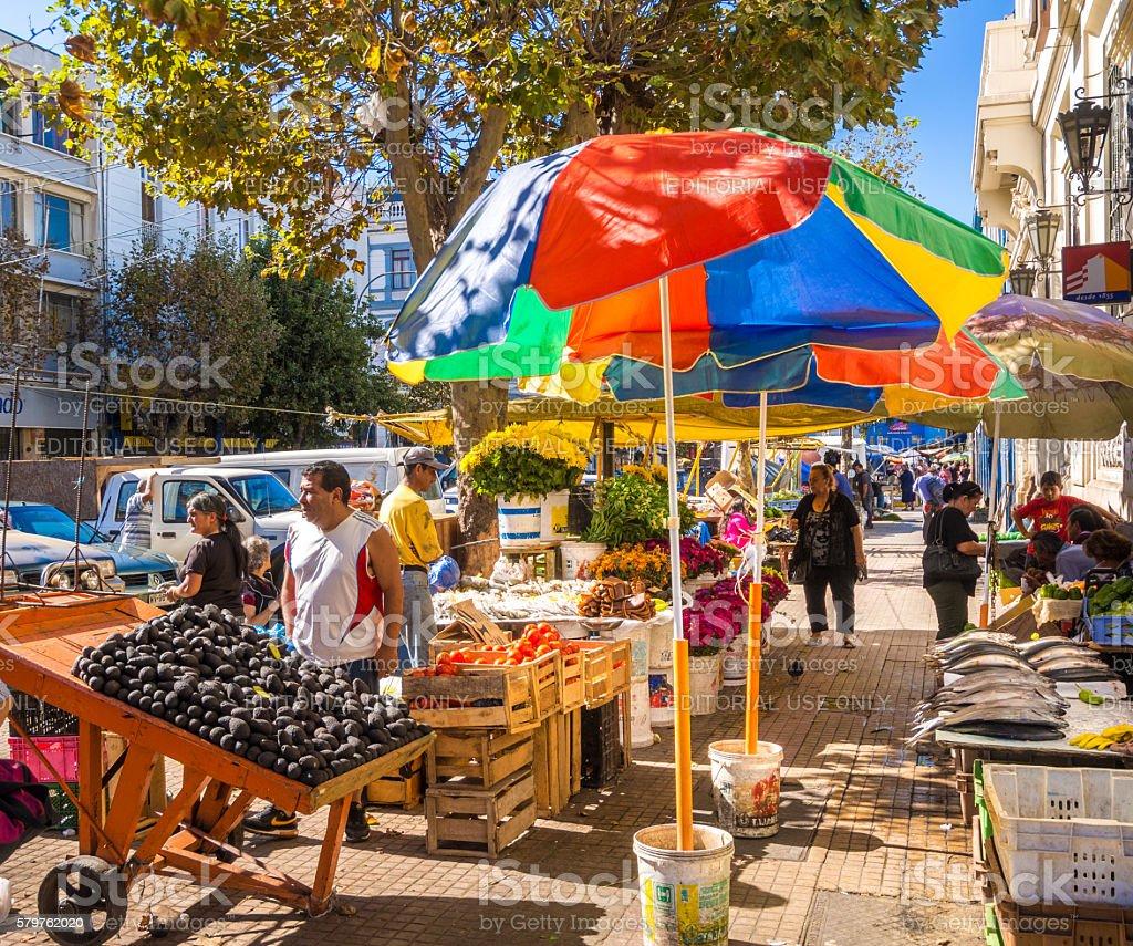 Street Market in Valparaiso stock photo