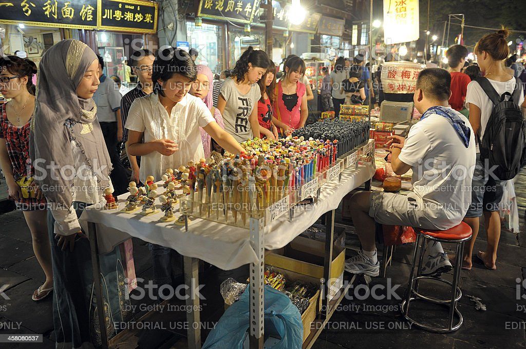 Street market in Xian royalty-free stock photo