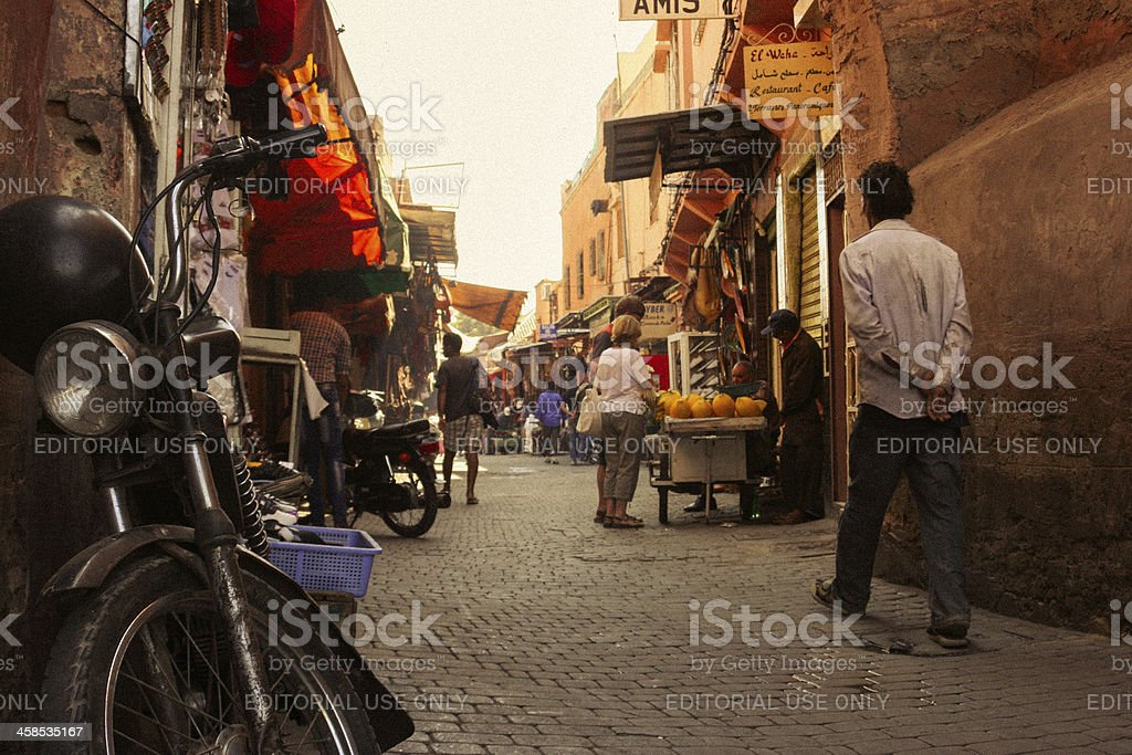 Street market Marrakesh, Morocco royalty-free stock photo
