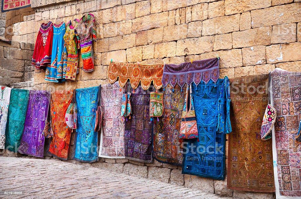Street market of Jaisalmer fort stock photo
