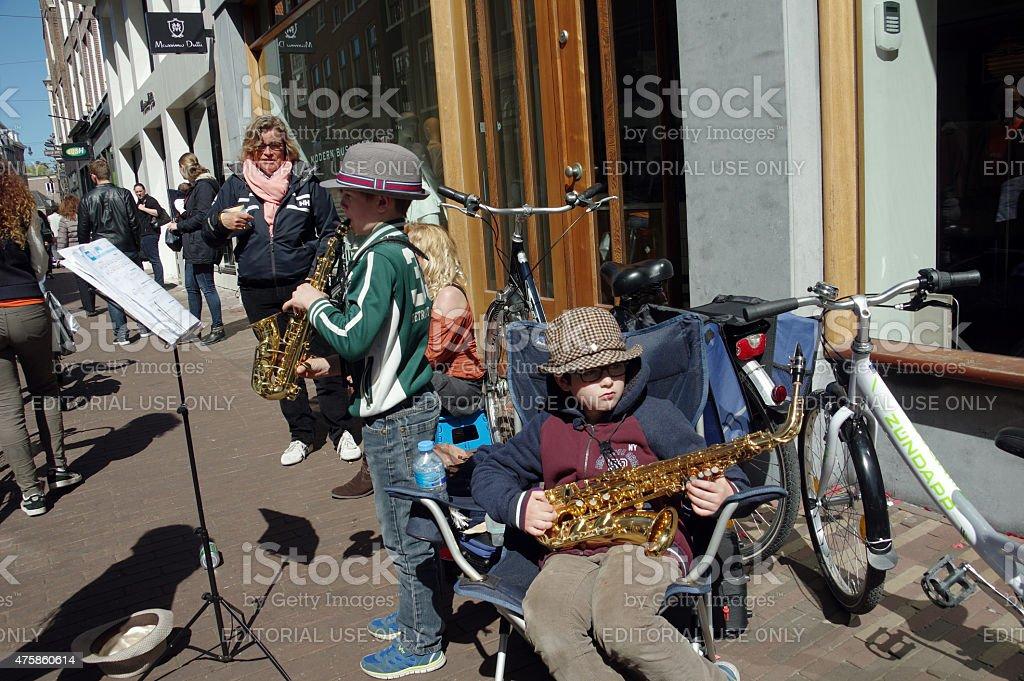 Street Market on Koningsdag in Haarlem stock photo