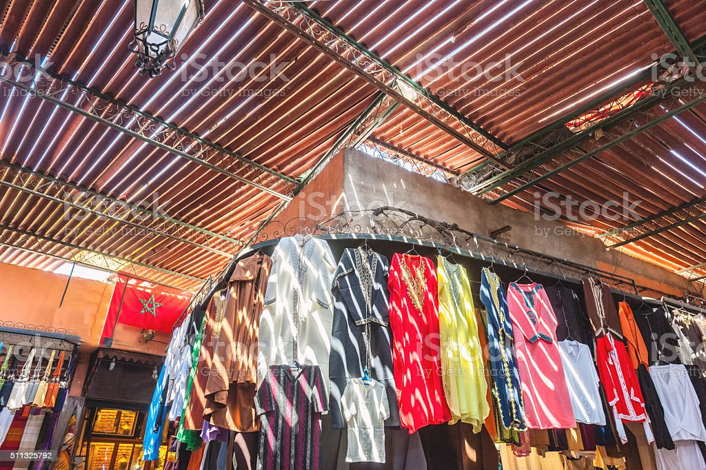 Street market ,roof,rays,dress,Marrakech Morocco North Africa stock photo