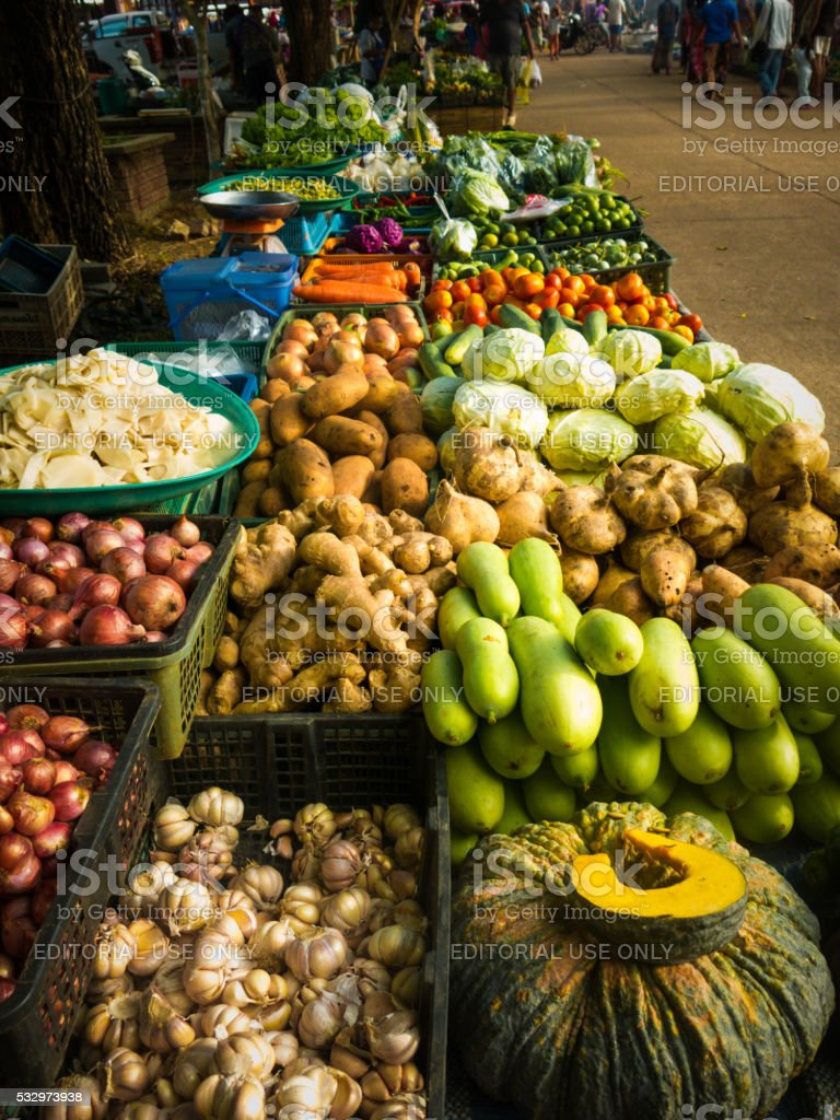 Street Market Vegetable Stall, Koh Lanta, Thailand stock photo