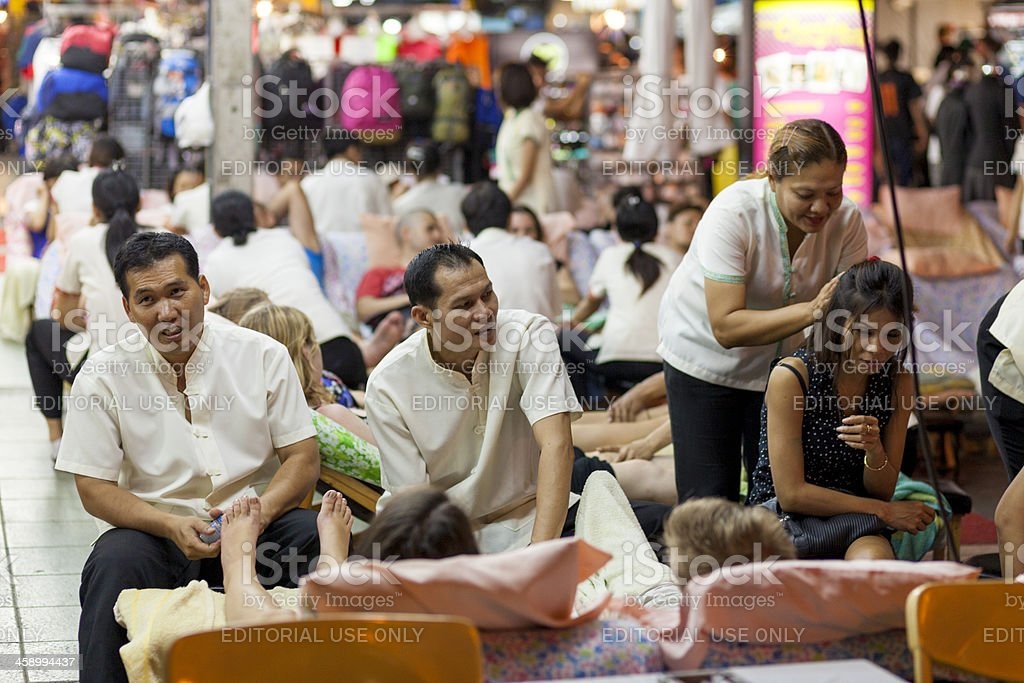 Street Massage Khaosan Rd Bangkok, Thailand royalty-free stock photo