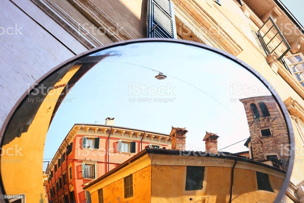 Street mirror stock photo