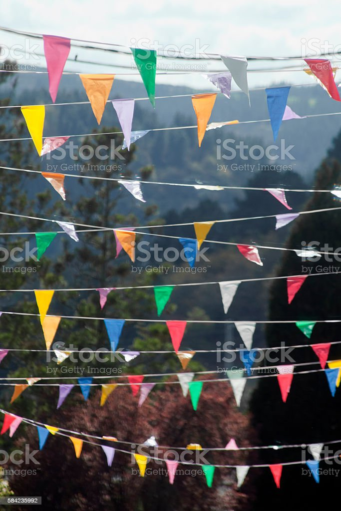 Street multicolored feast decorations. stock photo