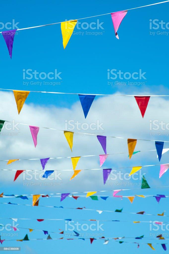 Street multicolored feast decorations. stock photo