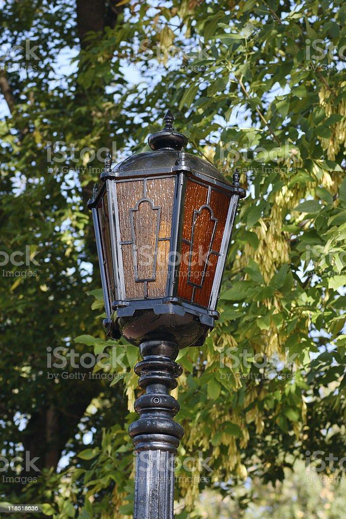 Ulica wielobarwny Lampion przeciwko jesień liście zbiór zdjęć royalty-free
