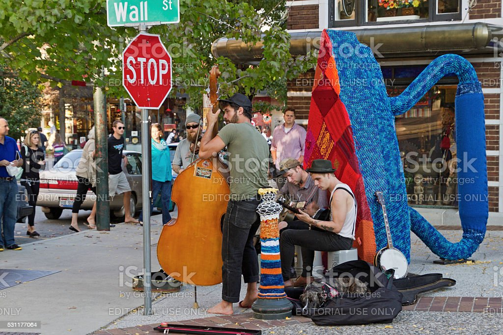Street Music and Dog stock photo