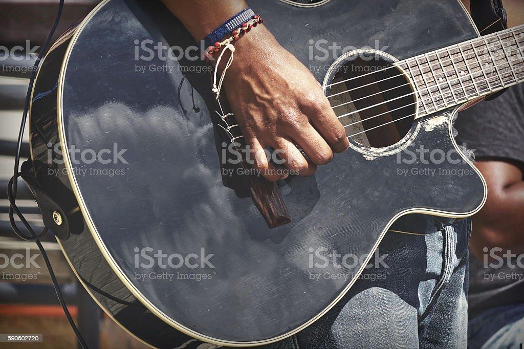 Street Musical Band Play Latin Music,  Close-up Of  Guitarist Ha stock photo