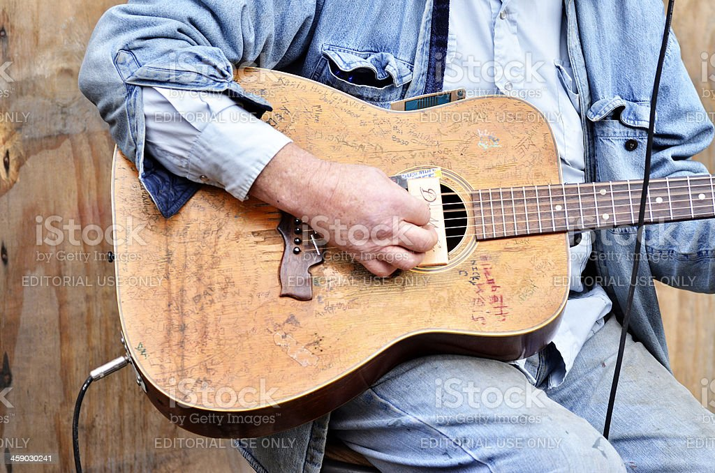 Street Musican's Guitar royalty-free stock photo