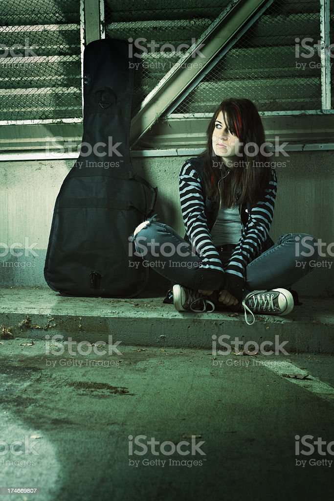 Street Musician and Guitar Vt royalty-free stock photo