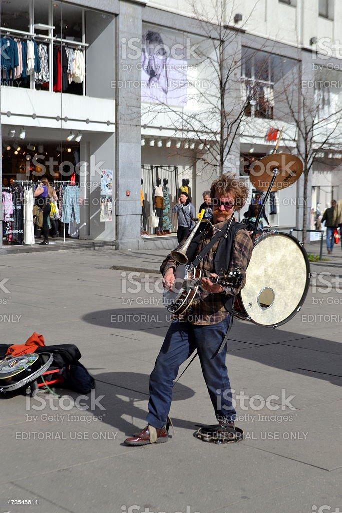 Street musician artist, Artista di strada stock photo