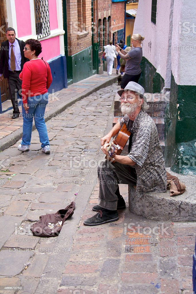 Street musician in Bogota Colombia stock photo