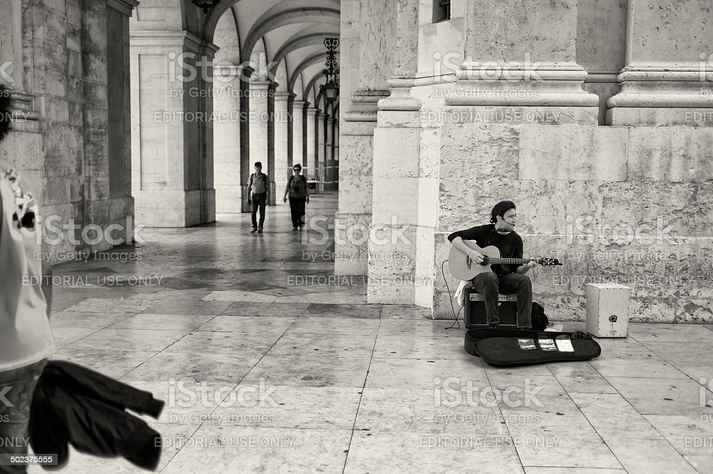 Street Musician in Lisbon royalty-free stock photo