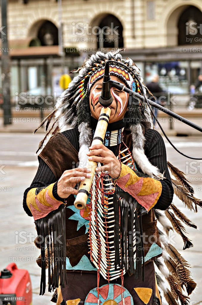Street musician Red Indians royalty-free stock photo