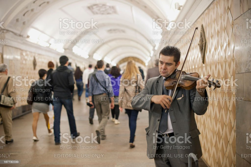 Street Musician, Moscow stock photo