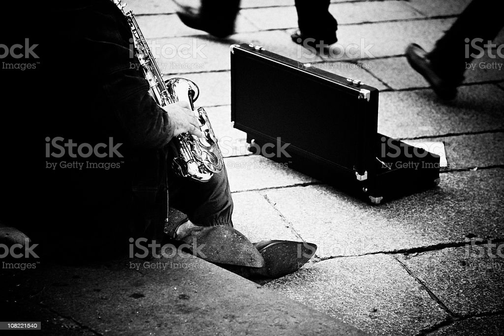 Street Musician Playing Saxophone, Black and White royalty-free stock photo