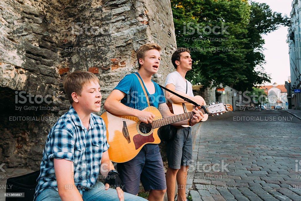 Street Musicians At Evening Near Famous Viru Gate In Tallinn stock photo
