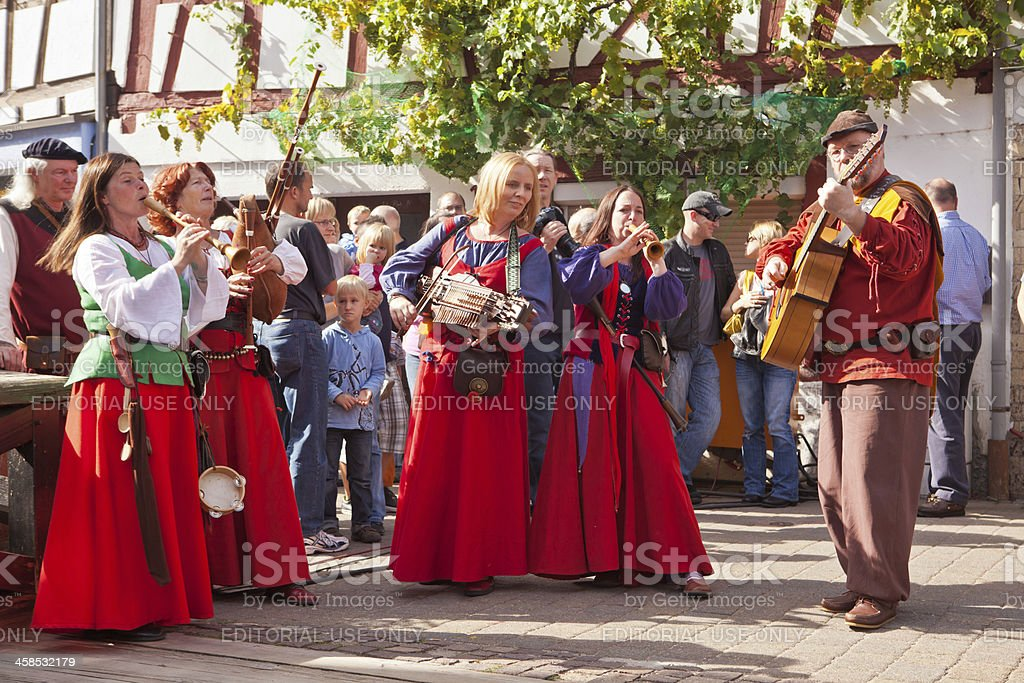 street musicians at medieval reenactment royalty-free stock photo