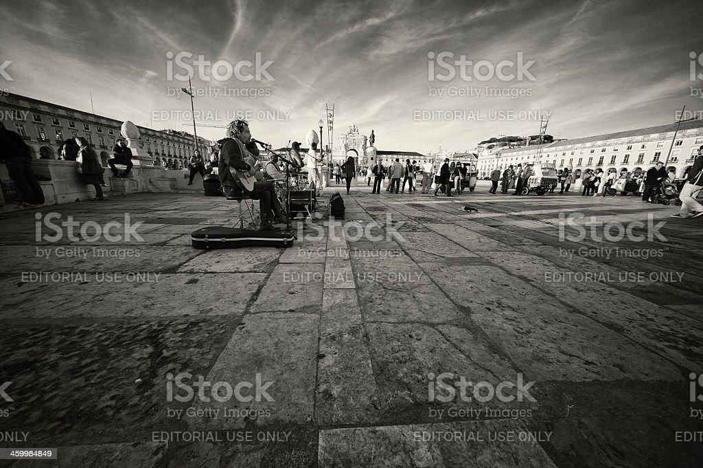 Street Musicians in Lisbon royalty-free stock photo