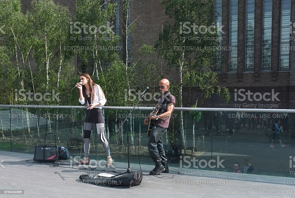 Street musicians in London stock photo
