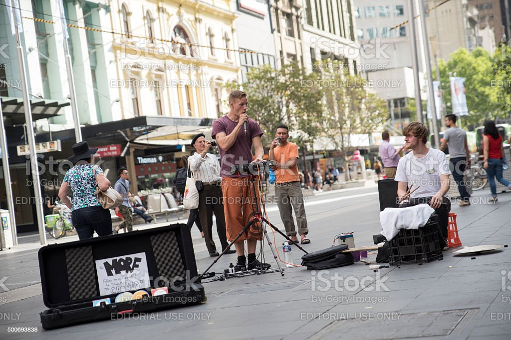 Street Musicians in Melbourne CBD stock photo