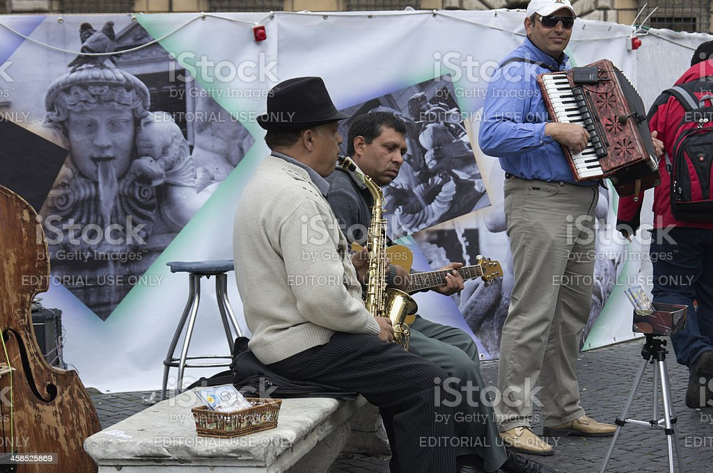 Street musicians in Piazza Navona, Rome royalty-free stock photo