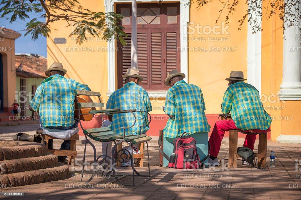 Street musicians in Trinidad, Cuba stock photo