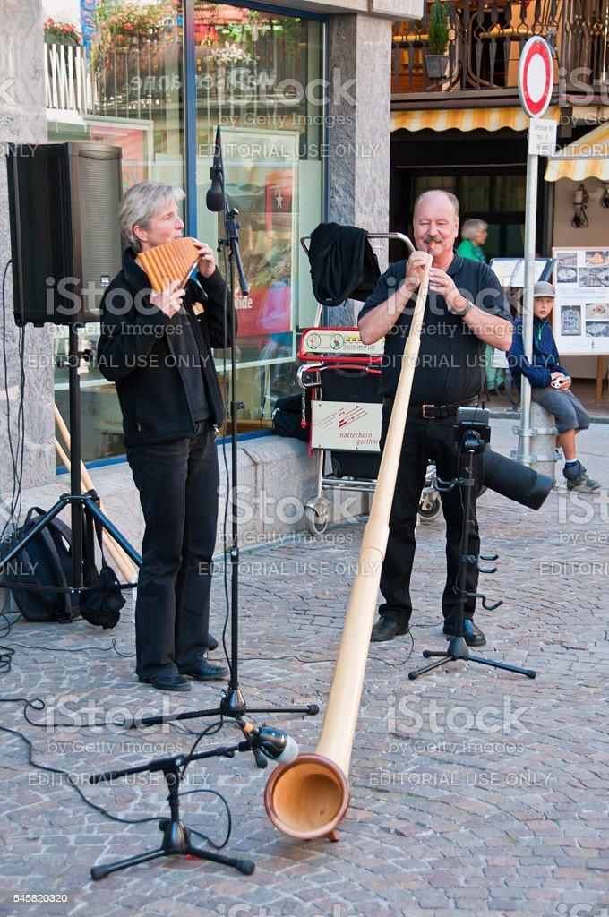 Street musicians in Zermatt stock photo