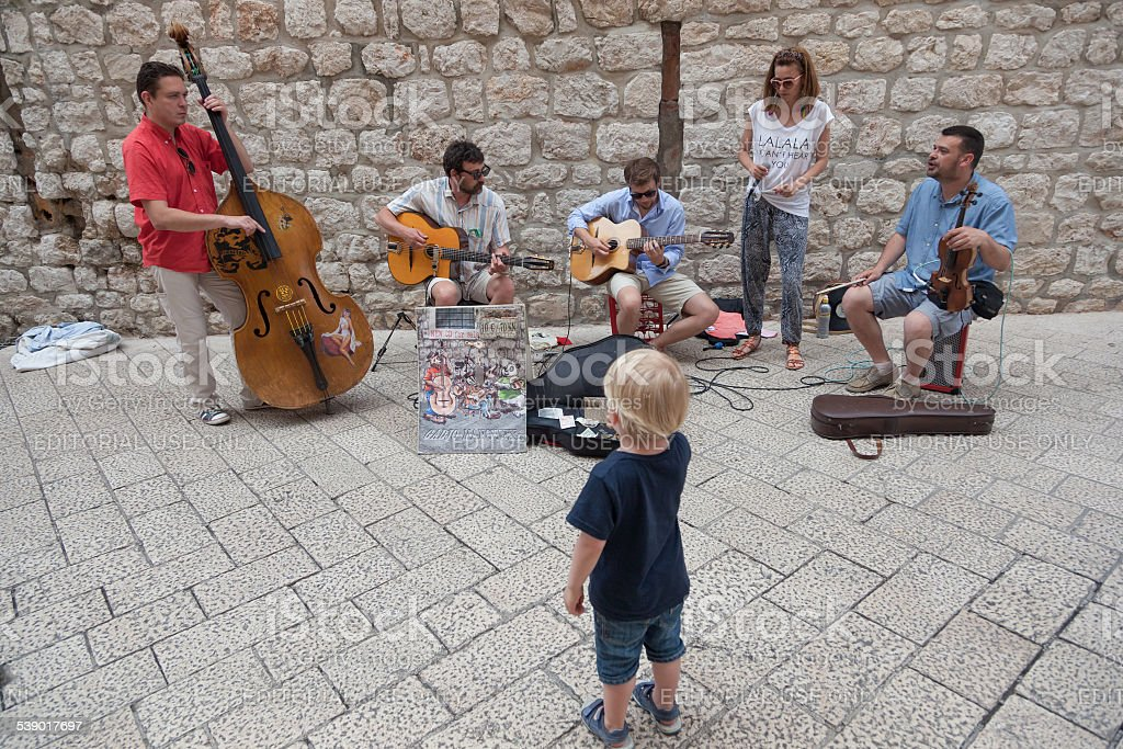 street musicians performing in Dubrovnik stock photo