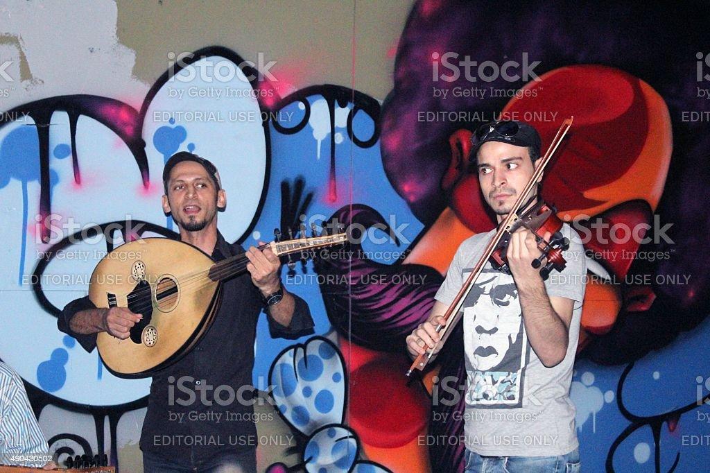 Street musicians stock photo