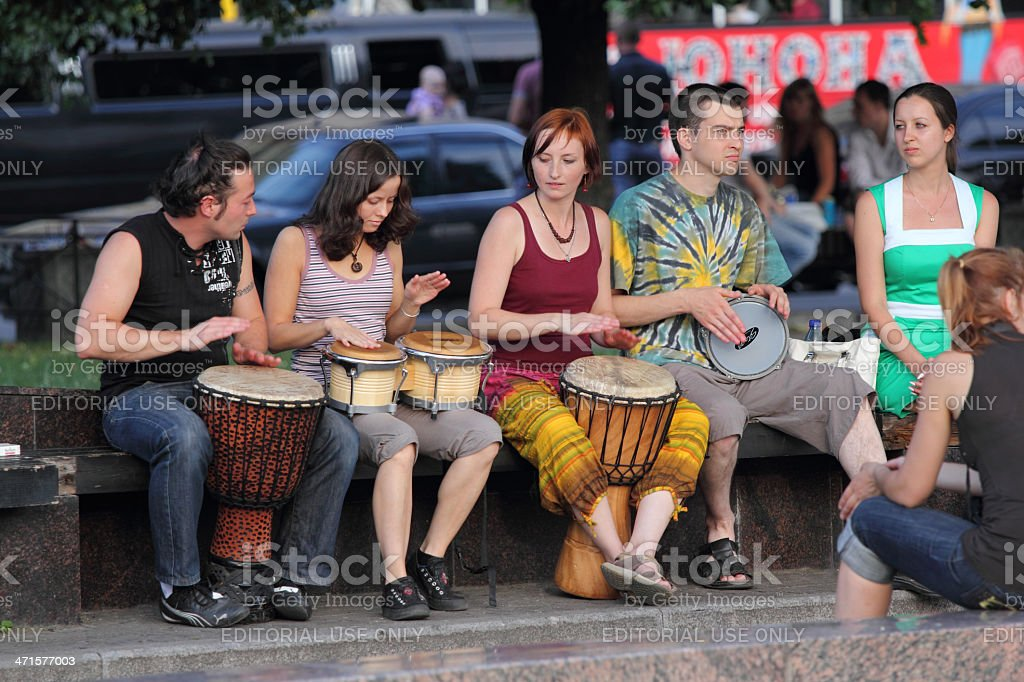 street musicians playing drums stock photo
