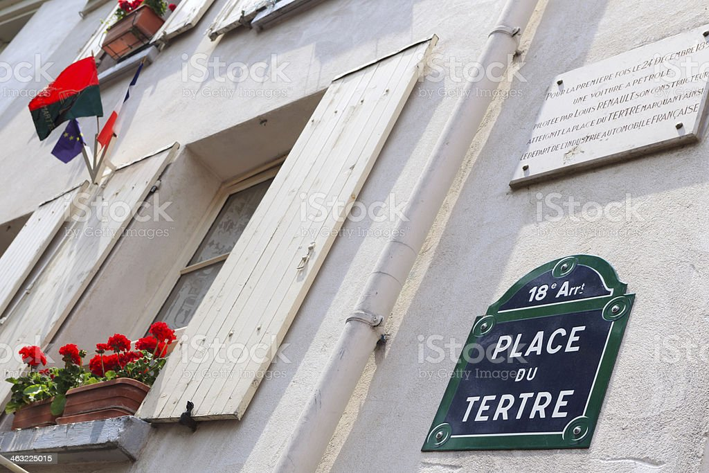 street name sign of the Place du Tertre in Paris royalty-free stock photo