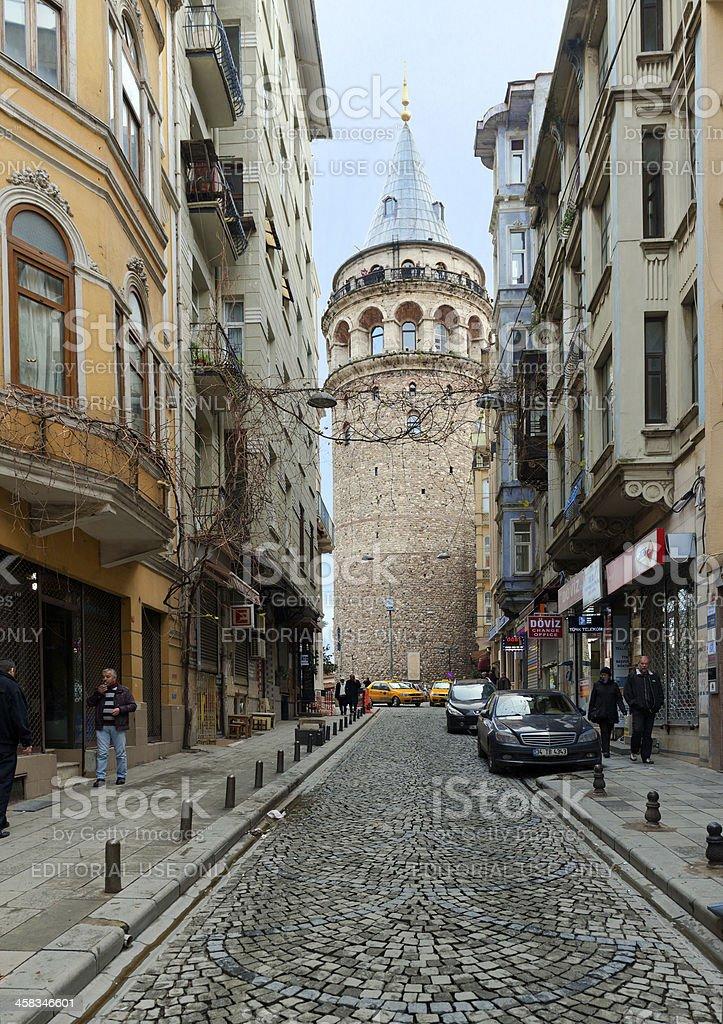 Street near Galata tower. Istanbul, Turkey. stock photo