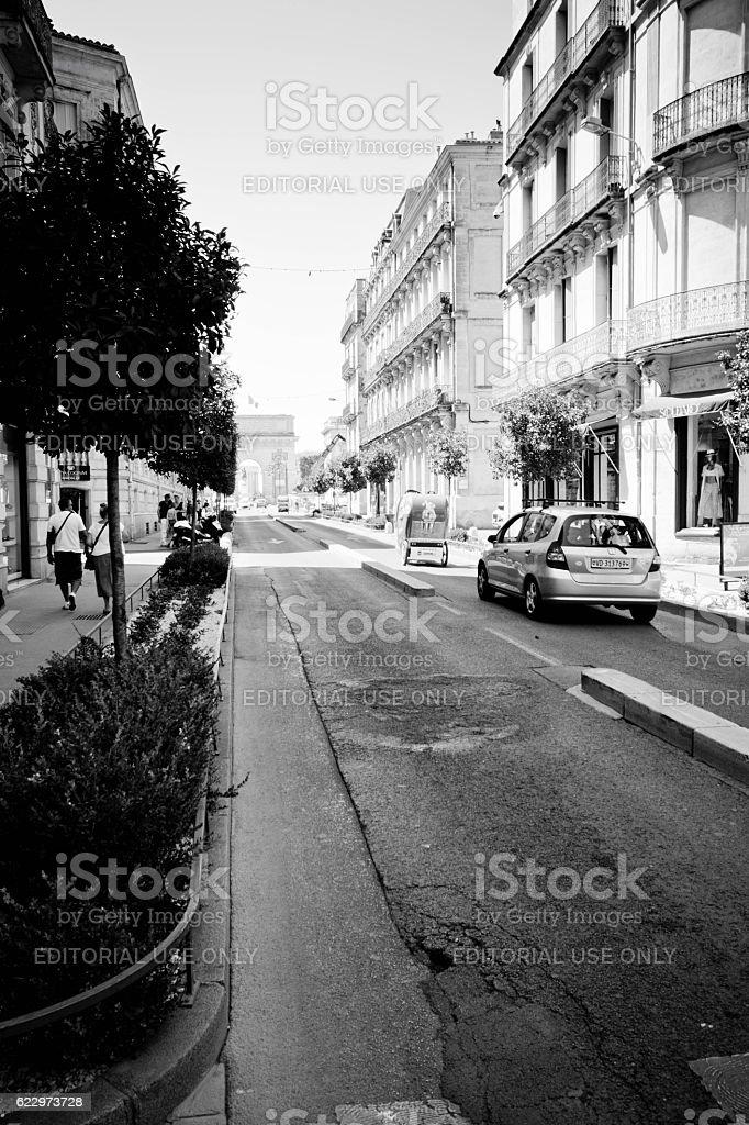 Street near Plaza de la Comedia Montpellier stock photo