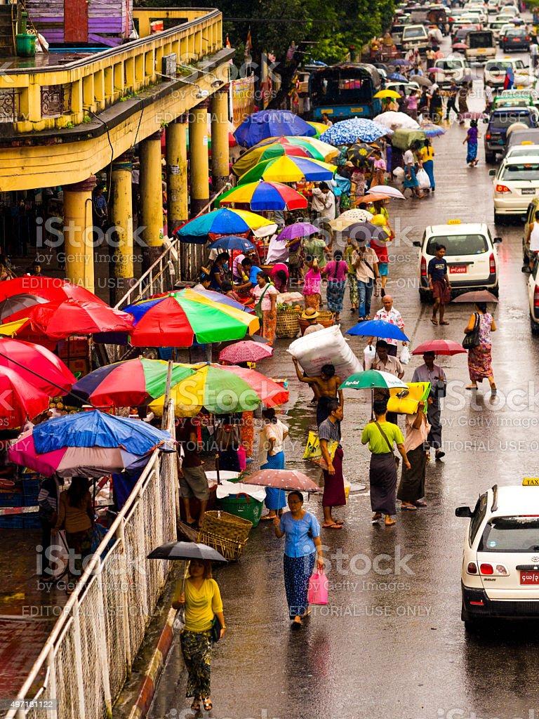 Street near Sule Paya in Yangon, Myanmar stock photo