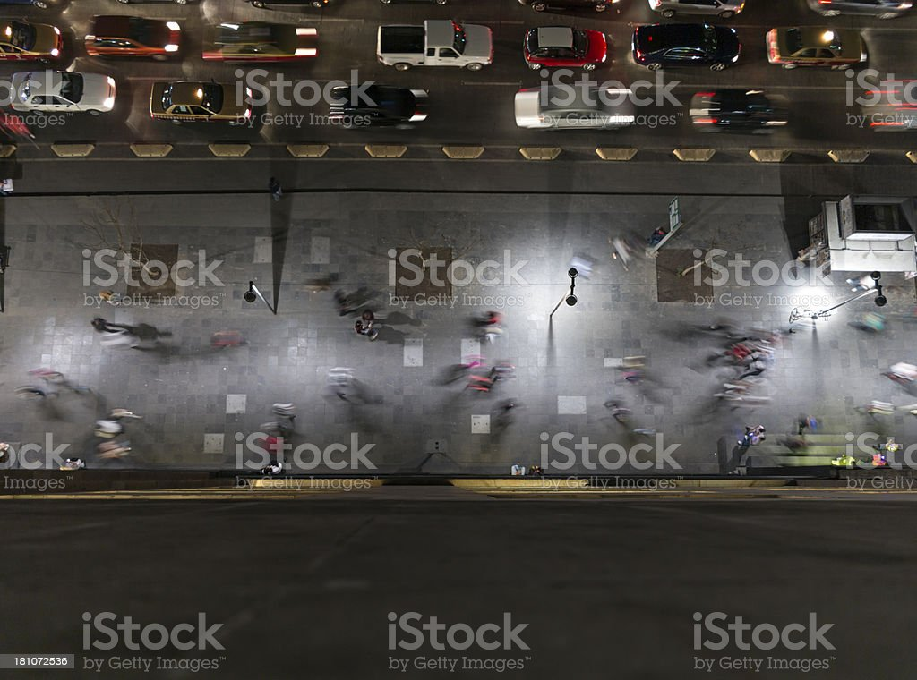 Street Night Scenewith traffic and pedestrians, Mexico City royalty-free stock photo