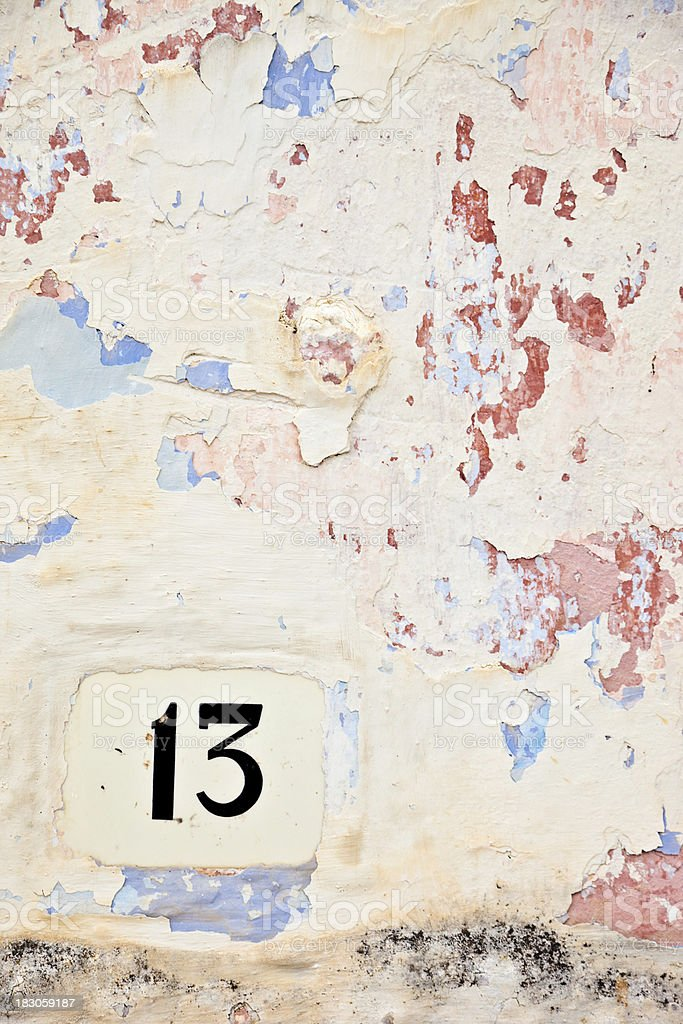 Street Number 13 On The Wall royalty-free stock photo