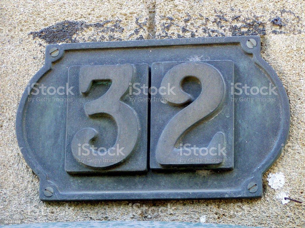 Street number 32 stock photo